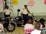 Motorcycle officers told the children about their bikes